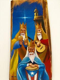 Reyes magos de Puerto Rico al óleo sobre madera.