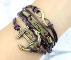 Bronze infinity love and the anchor bracelet karma by Carlydiy, $4.99