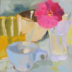 Blue Cup by Linda Hunt 8X8 oil on  alla prima still by LindaHunt, $125.00
