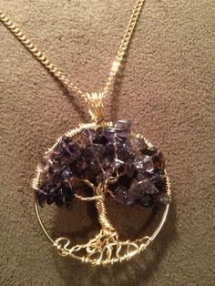 Purple Howlite Tree of Life -- Handmade Jewelry Pendant Locket Celtic Goth Spirit Gemstones Wire Wrapped Trees Custom by Just4FunDesign on Wanelo