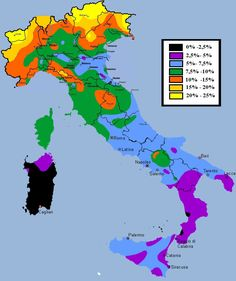 """""""This #map cracked me up. Share of population in #Italy with blond hair. https://t.co/q3YVeN7ueC"""""""