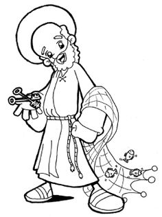 Saint Peter Catholic Coloring Page:  Keys to the Kingdom and Fisherman. Feast of saints Peter and Paul is June 29th.