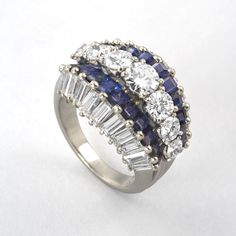 Mid-Century Platinum, Diamond and Sapphire Ring by Oscar Heyman Rings Jewelry Antique Jewelry Tiffany Lamps Art Nouveau