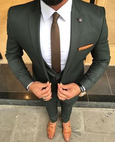 Check out this perfectly tailored custom olive green suit. An amazing combination when paired with brown men's loafers and a white shirt! Have your very own suit custom made from Giorgenti New York! Dress Suits, Men Dress, Mode Costume, Designer Suits For Men, Classy Men, Classy Style, Mens Fashion Suits, Fashion Fashion, Fashion Guide