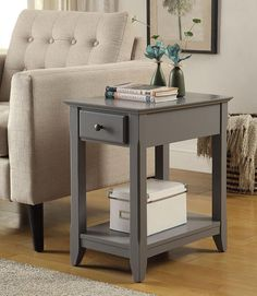Andover Mills Hillyard End Table With Storage Color Gray Art Van Furniture