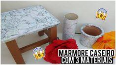Como fazer efeito mármore Caseiro com 3 Materiais - YouTube Decoupage, Diy And Crafts, Paper Crafts, Marble Painting, Paint Effects, Made Video, Miniatures, Basket, Handmade