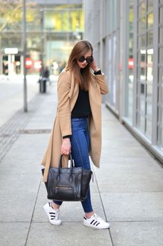 Camel Coat /Adidas Superstar Sneakers / Celine Bag