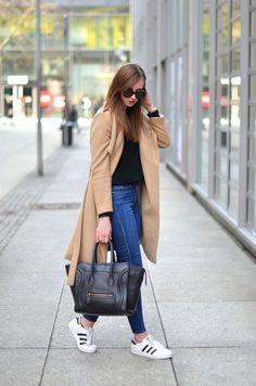 Camel Coat /Adidas Superstar Sneakers / Celine Bag