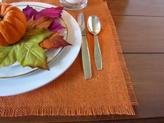 DIY: No Sew Rustic Placemats For Your Thanksgiving Table | Momtastic. These don't have to be for Thanksgiving, especially if you use a natural color for spring/summer. Also, you could use the same same concept to make a runner rather than napkins. Either way, buy some burlap today.