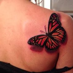 Back Shoulder Tattoos for Women | tattooshunt.com/black-red-butterfly-tattoo-on-back-shoulder-for-women ...