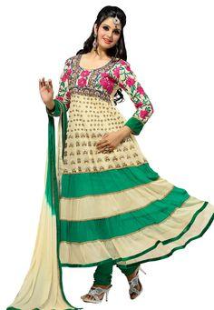 Green #Color Pure Georgette Designer Indian #Dress #Anarkali Suit