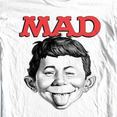 d003f9c80 MAD Magazine Alfred E Newman T-shirt retro 1970's funny graphic tee WBT349  - T