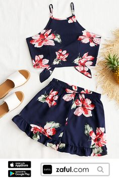 Only $13.99 For Floral Cami Crop Top With Shorts Set. Free Shipping For 2018 Latest Fashion, ALL Enjoy More Discount!