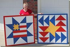 Tutorial on how to make a barn quilt. Nice instructions and helps. Barn Quilt Designs, Barn Quilt Patterns, Quilting Designs, Mosaic Patterns, Painted Barn Quilts, Quilt Storage, Quilted Gifts, Barn Art, Old Barns