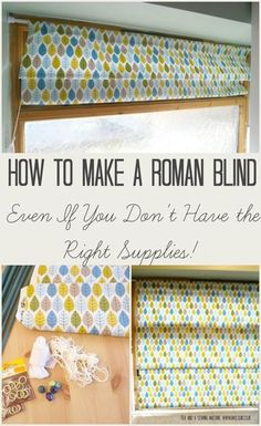 How to make a Roman blind. It's surprisingly easy and even if you don't have the right supplies, you can improvise with a few bits and pieces from your local hardware store. Clear, step by step tutorial with pictures. Tea and a Sewing Machine www. Sewing Hacks, Sewing Tutorials, Sewing Crafts, Sewing Patterns, Diy Crafts, Dress Tutorials, Sewing Tips, How To Make A Roman Blind, Store Venitien