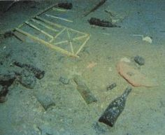 The debris field spans nearly 2000 feet between the two sections of the Titanic. The debris includes lumps of coal, wrought-iron deck benches, baths, crockery and other bric-a-brac.