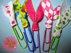 These cute little paper clips only take a few seconds to make! All you need is some ribbon and a paper clip :)