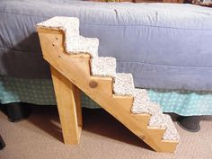 16 - 28 x 8 Handmade Pet Steps Space Saver Custom Dogs Cats Puppies Small to Medium Animals Dog Stairs Ramp Model Shown Specs: Height - 28 inches Width - 8 inches Depth - 28 inches Step up - 4 inches Step Deep - 4 inches Weight - Approx 20 lbs Material - Wood, New Carpet Strip, Screws