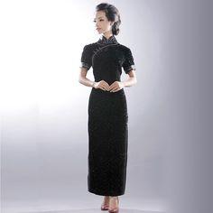 Vintage Fashion Oriental Long Velvet Cheongsam Dress Pure Black. The Black Pearl