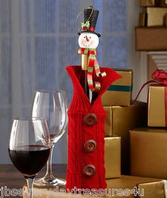2 Piece Holiday Christmas Wine Bottle Wrap Cover Topper Snowman