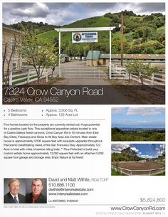 7324 Crow Canyon Rd. 5 homes with positive cash flow.  Main house includes exquisite updated throughout.