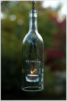 Homemade wine bottle lantern