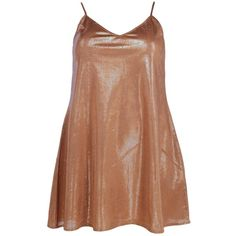 Boohoo Plus Gabriella Shimmer Swing Dress | Boohoo (£26) ❤ liked on Polyvore featuring dresses, trapeze dresses, swing dress, tent dress, beige dress and shimmer dresses