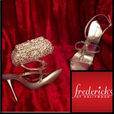 Fredricks of Hollywood❤️Stroke of Midnight❤️Heels Elegantly stunning❤️Stroke of Midnight❤️rhinestone silver heels❤️By Fredrick of Hollywood❤️4in heel❤️wrap around ankle closure❤️gently preowned❤️all rhinestones in tact❤these have a protective,clear strap under the rhinestones,so they don't lay directly on the skin..to cause discoloration from the rhinestones❤️️excellent condition❤️a show stopper❤️sz 9❤️🚫trades🚫bundle disc.❤️please use offer button via all offers❤️Thank You💋 Frederick's of…