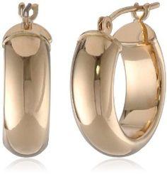 Duragold 14k Yellow Gold Half-Round Hoop Earrings