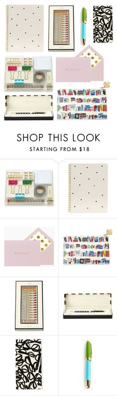 """""""Kate Spade Stationary"""" by aelgreen-1 on Polyvore featuring interior, interiors, interior design, home, home decor, interior decorating, Kate Spade and Sugar Paper"""