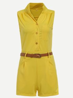 Yellow Belted Button Front Pocket Romper
