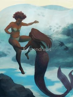 'I Fell in Love With a Mermaid' Poster by Kirstendraws Magical Creatures, Fantasy Creatures, Sea Creatures, Mythological Creatures, Lgbt, Mermaid Poster, Mermaid Drawings, Mermaid Artwork, Black Mermaid