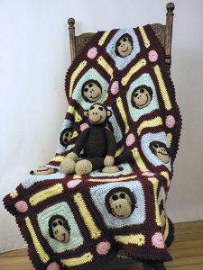 Little hands won't be able to resist this #Monkey Motif Afghan! It's super cute and each monkey's mouth sticks out from the blanket's surface, which is fun for little ones.