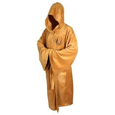 Kasual Adult Unisex Star Wars Hooded Bath Robe Jedi Dressing Gown Costume Brown