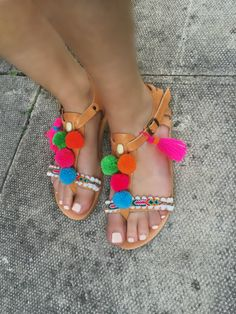 Bohemian Pom Pom Strappy Sandals  Mirabelle  / by SandalsofLove
