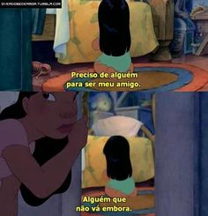 Lilo y Stitch Lilo And Stitch 2002, Lilo And Stitch Quotes, Lelo And Stitch, Lilo Y Stitch, Disney Memes, Disney Quotes, Triste Disney, Disney Addict, Sad Girl