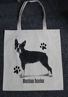 Med. Sized Boston Terrier Dog Canvas Tote Bag Shopping Bag Grocery Bag Reusable