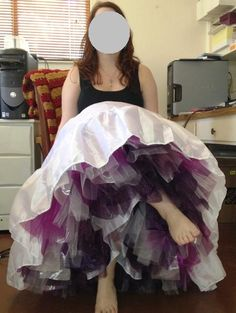 Semi-DIY, no-dye, crinoline:  Wedding petticoat made with layers of different-colored crinoline for a fun effect, from diy.weddingbee.com (Nov. 2012).
