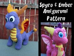 ***This pattern is a PDF file and will be available to download directly through Etsy after purchase. No waiting!*** Cute, cuddly, and fire-breathing! This lovely due promises not to burn down your home. Crochet your own little pair of dragons, inspired by the Spyro the Dragon video