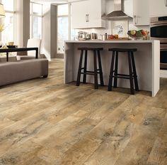 Luxury vinyl plank flooring to fit any room in your home. Our easy to install luxury vinyl floors come in tile, plank and vinyl sheet flooring in every style. Vinyl Sheet Flooring, Vinyl Flooring Kitchen, Luxury Vinyl Tile Flooring, Kitchen Vinyl, Farmhouse Flooring, Linoleum Flooring, Luxury Vinyl Plank, Pvc Flooring, Moduleo Flooring