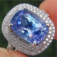Certified 3.58 ct VVS Natural Tanzanite Diamond 14k White Gold Estate Ring GEM in Jewelry & Watches, Fine Jewelry, Fine Rings | eBay
