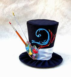 Tiny Top Hat: The Artist - Red Blue water Fire Paint paintbrushes brush artistic palete unique beautiful hand painted handpainted party Crazy Hat Day, Crazy Hats, Steampunk Hut, Steampunk Top Hat, Steampunk Clothing, Steampunk Fashion, Victorian Fashion, Mad Hatter Hats, Mad Hatter Tea