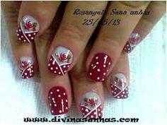 unhas decoradas - Pesquisa Google Claire's Nails, Red Nails, Hair And Nails, Flower Nail Art, Bathroom Art, Easy Nail Art, Perfect Nails, Nail Arts, Christmas Nails