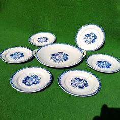VTG SERVICE GATEAU CAKE SET 6 PLATE DISH HANDLED STAND KG LUNEVILLE BLUE EYELET