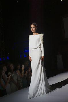 desfile starlite panambi vestido novia blanco con hombrera