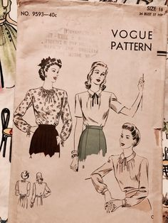 BUST 34 1940s Vogue blouse pattern long or short sleeves in
