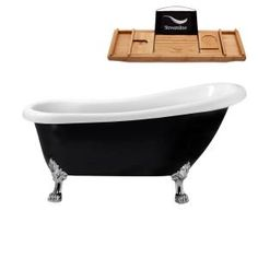 Barclay Products 5.6 ft. Acrylic Ball and Claw Feet Slipper Tub in White with Oil Rubbed Bronze Accessories-TKADTS67-WORB4 - The Home Depot Farmhouse Bathroom Accessories, Whirlpool Bathtub, Clawfoot Bathtub, Polished Chrome, Matte Black, Acrylic Material, Brushed Nickel, Super Easy, Flexibility