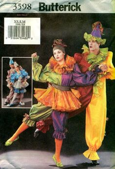harlequinade costume inspiration - Butterick 3598 CIRQUE du SOLEIL Style PIEROT by PatternPeddler, $15.95