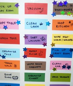 I love this chore chart idea... Use paint chips on poster board, laminate, and use wipe-off marker to write the chores you need done. Each kid gets a different colored sticker. Chores get counted at the end of the week for allowance. This lady pays her kids a nickel for each chore which seems silly to me. I would at least start out at a dime.