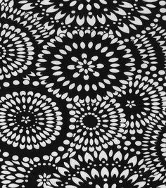 Die Cut Floral Rayon Spandex FM Fabric-Black/White